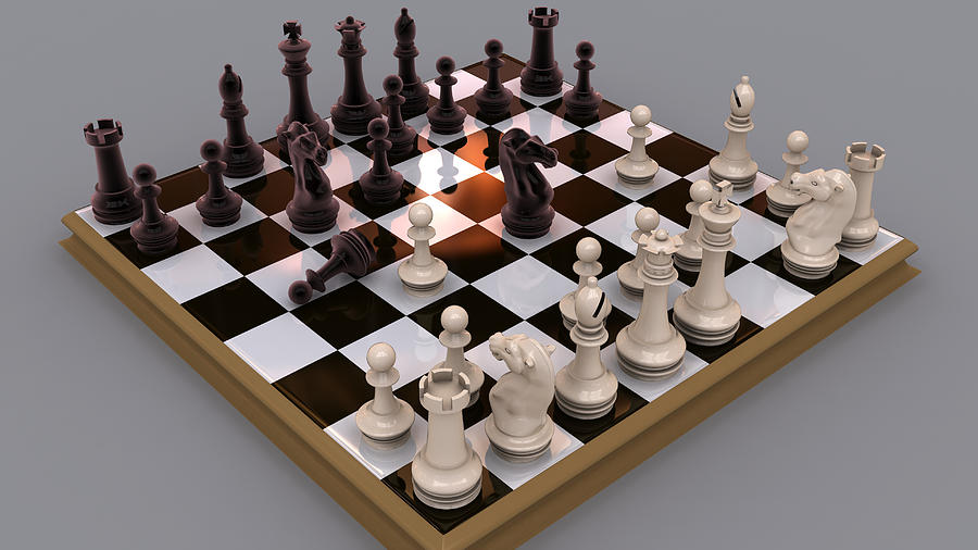 Chess Digital Art - Black And White by Rimantas Vaiciulis