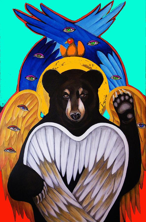 Animal Painting - Black Bear Seraphim Photoshop by Christina Miller