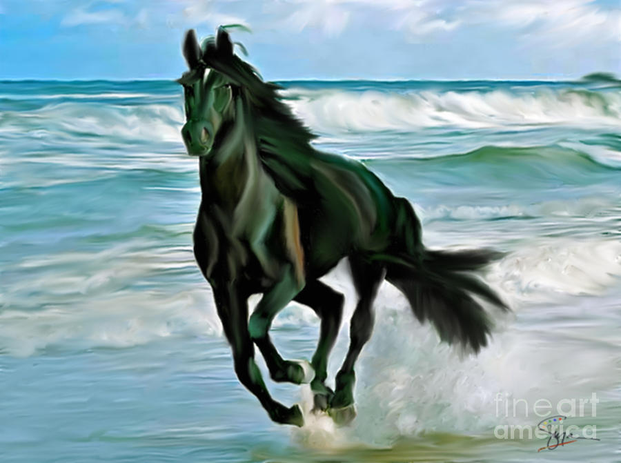 Black Beauty On The Beach Painting By Susan Blanton