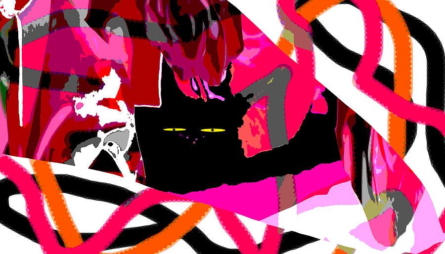 Black Digital Art - Black Cat by Elisabet Bondesson