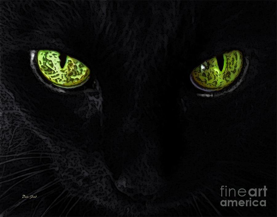 Cats Digital Art - Black Cat Mystique by Dale   Ford