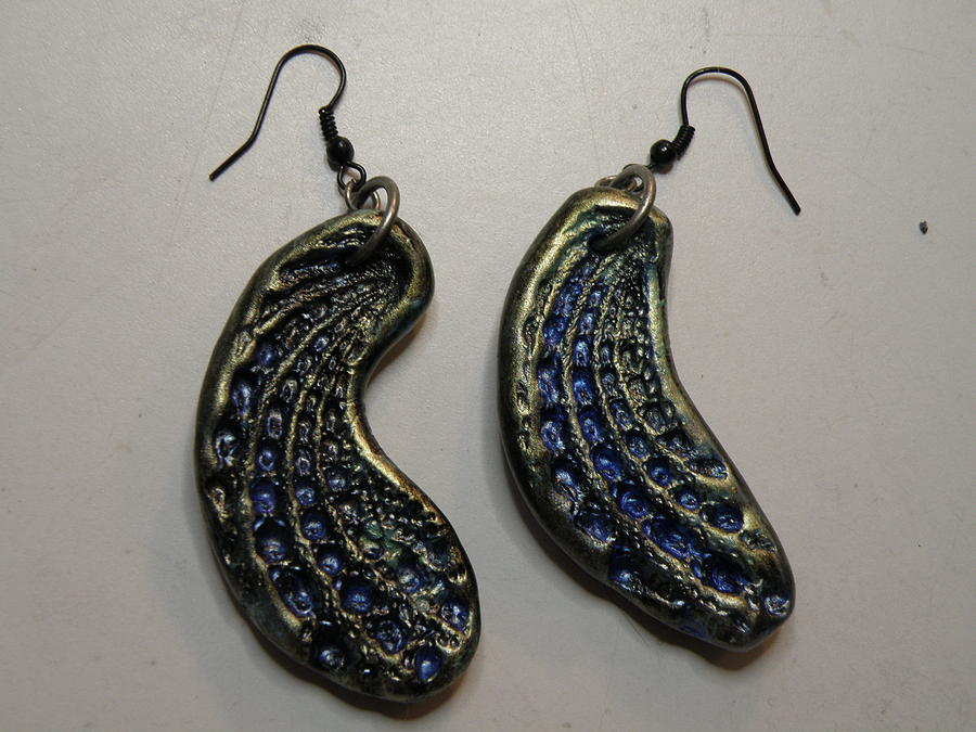 Metallic Paint Jewelry - Black Clay With Metallic Paint Earrings 2 by M Brandl