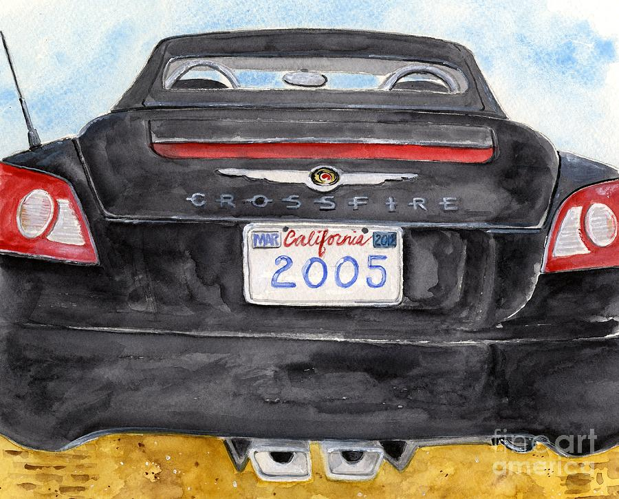 Black Car Painting - Black Crossfire by Sheryl Heatherly Hawkins