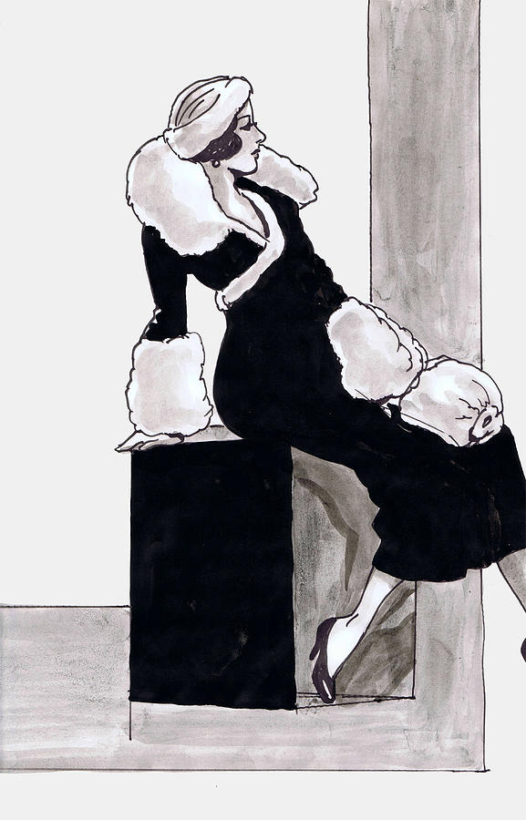 Nostalgia Drawing - Black Dress With Fur by Mel Thompson