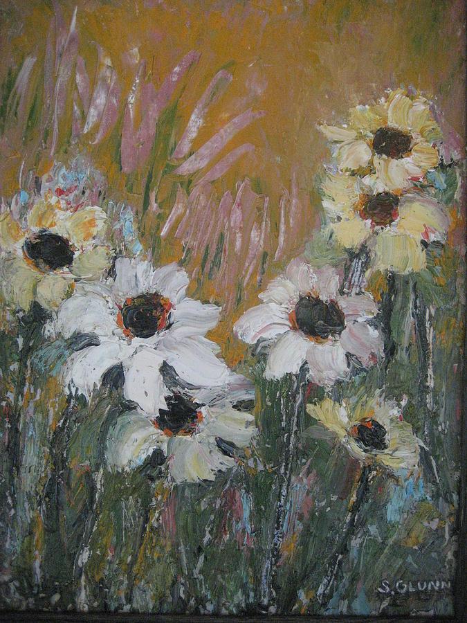 Flowers Painting Painting - Black Eyed Beauties by Selma Glunn