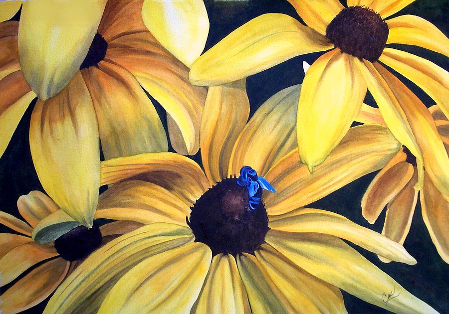 Flower Painting - Black Eyed Susans by Karen Casciani