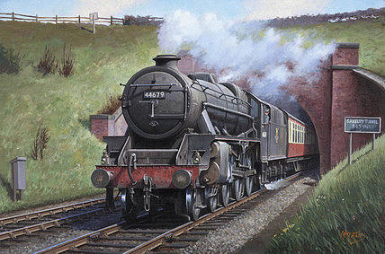 Train Painting - Black Five. by Mike Jeffries
