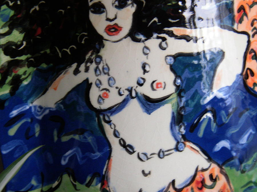Sea Ceramic Art - Black-haired Mermaid by Patricia Lazar
