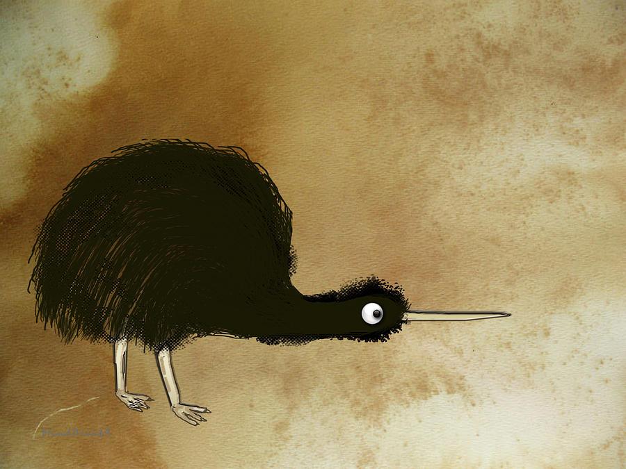 Kiwi Digital Art - Black Kiwi by Asok Mukhopadhyay