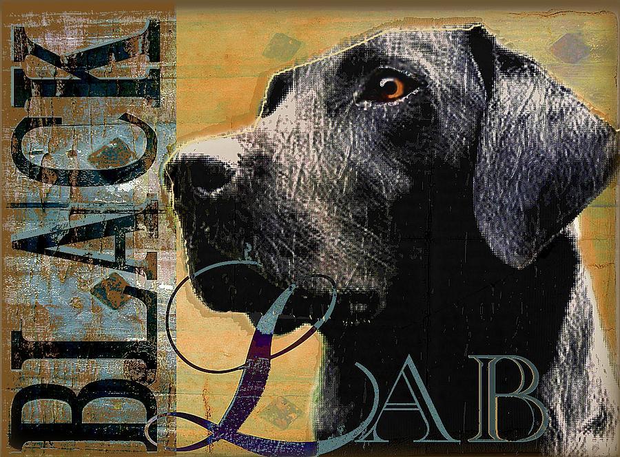 Black Lab Digital Art - Black Lab by Wendy Presseisen