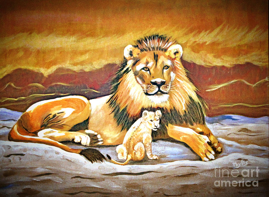 Black Maned Lion Painting - Black Maned Lion And Cub by Phyllis Kaltenbach