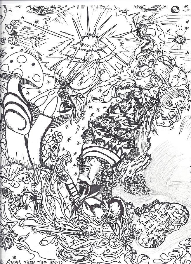 Black Drawing - Black N White by Justin Chase