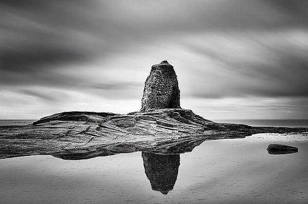 Mono Photograph - Black Nab Whitby by Ian Barber