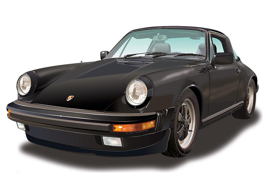 Black Porsche 911 Sc Targa Drawing By Alain Jamar