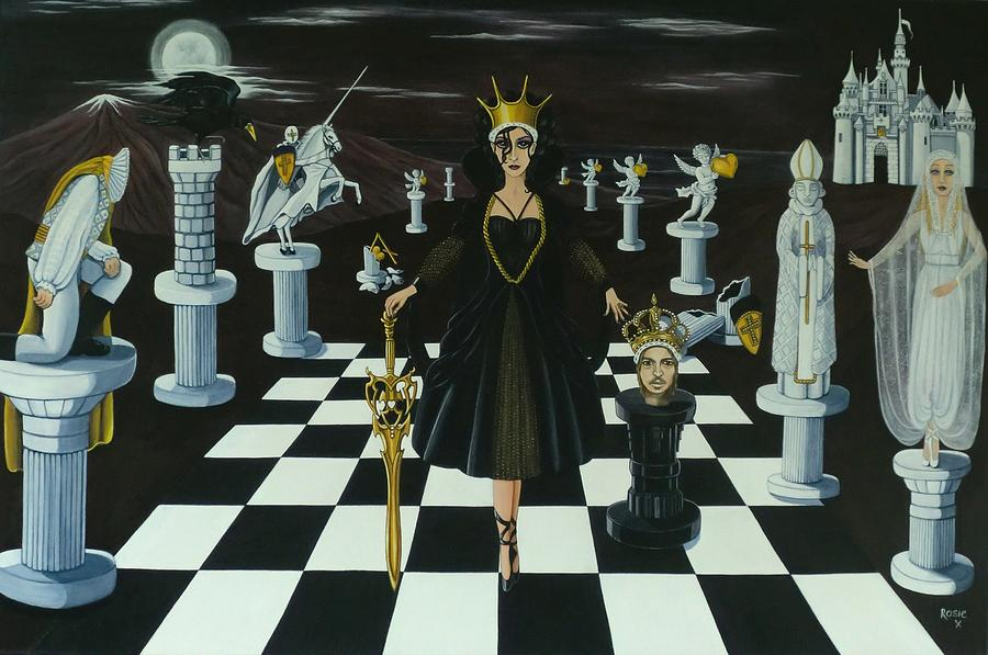Black Queen Takes White King Painting By Rosie Harper