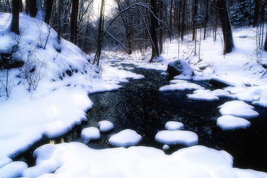 Landscape Photograph - Black River Winter Scenic by George Oze