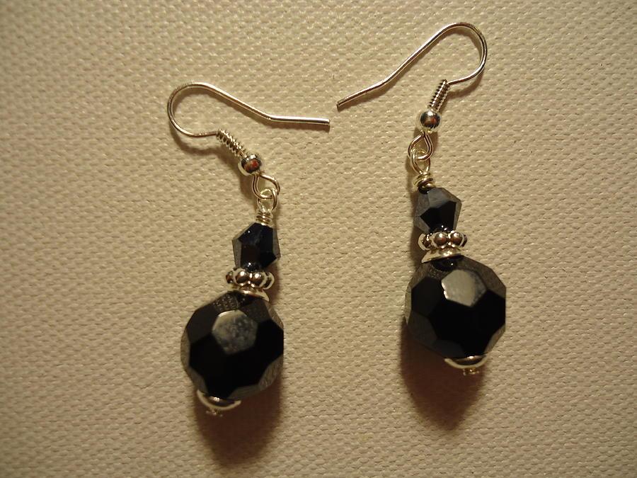 Black Glass Photograph - Black Sparkle Drop Earrings by Jenna Green
