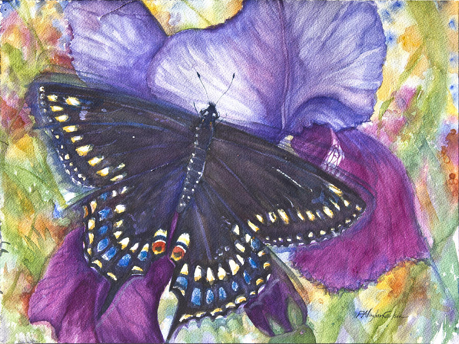 P Allingham Carlson Mixed Media - Black Swallowtail Butterfly by Patricia Allingham Carlson
