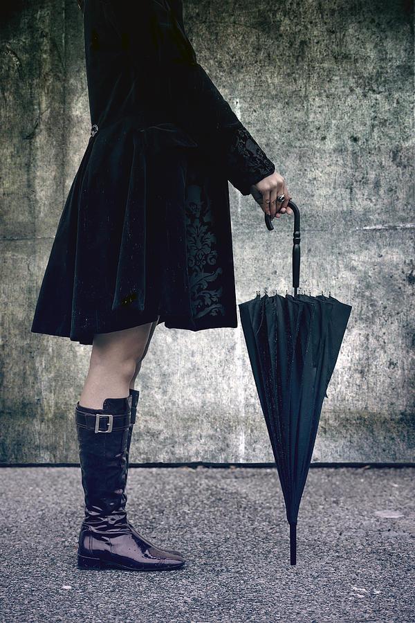 Woman Photograph - Black Umbrellla by Joana Kruse