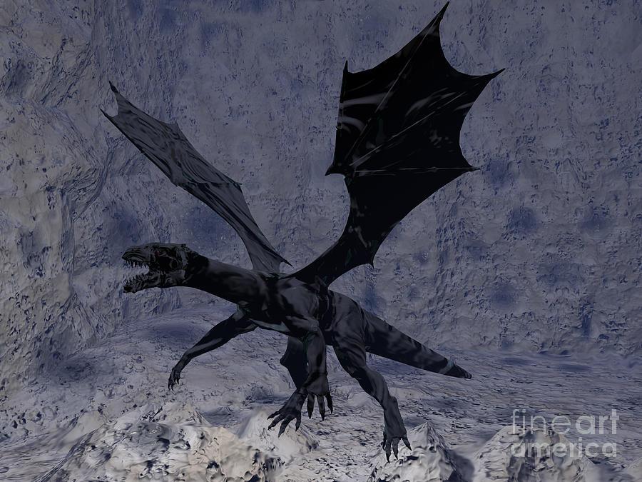 Dragon Digital Art - Black Vengeance by Tea Aira