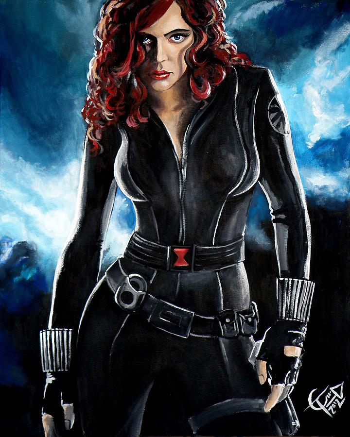 Scarlett Johansson Painting - Black Widow by Tom Carlton
