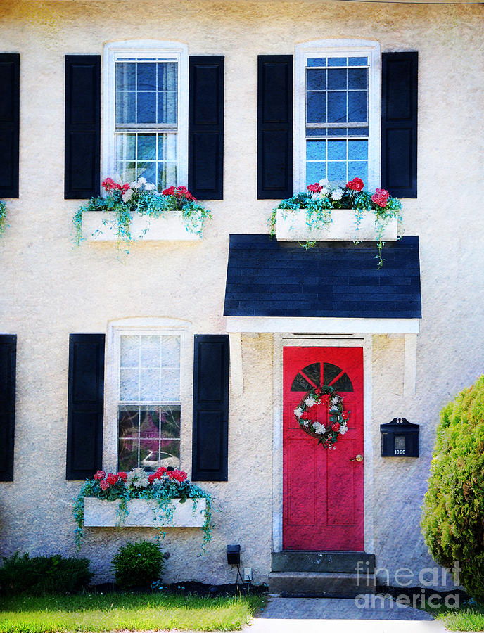 Red Photograph - Black Window Shutters With Flowers by Paul Ward