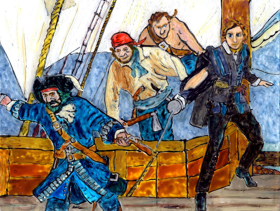 Pirates Painting - Blackbeard And Flynn by Phil Strang