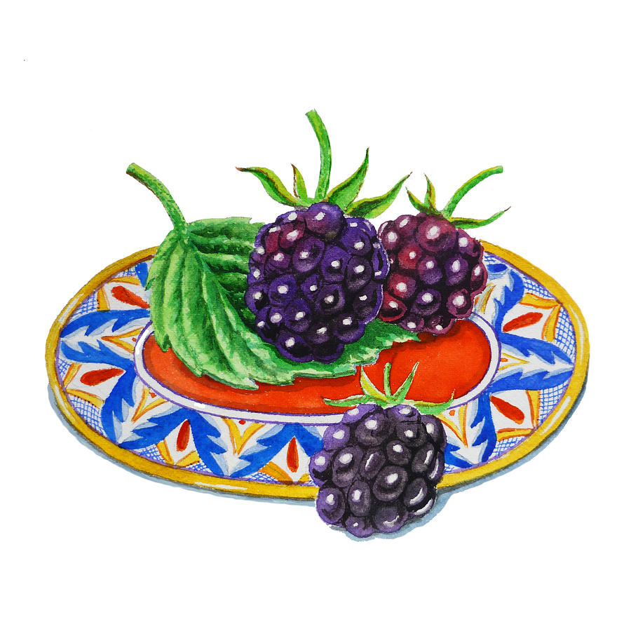 Blackberry Painting - Blackberries by Irina Sztukowski