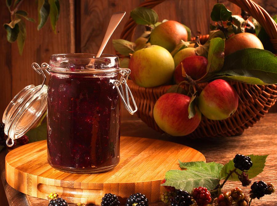 Apple Photograph - Blackberry And Apple Jam by Amanda Elwell