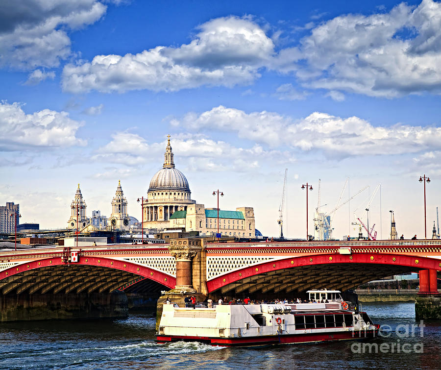 Blackfriars Photograph - Blackfriars Bridge And St. Pauls Cathedral In London by Elena Elisseeva