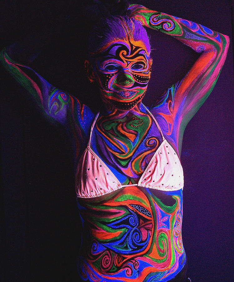 Blacklight Bodypaint Swimsuit Body Paint On Girl Mixed Media By