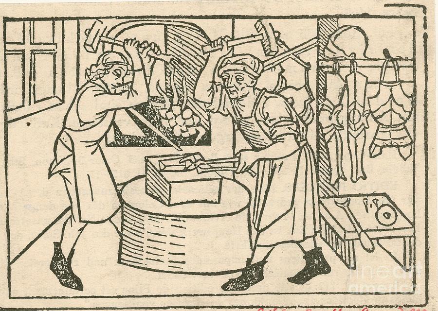 Resultado de imagem para medieval blacksmith drawing
