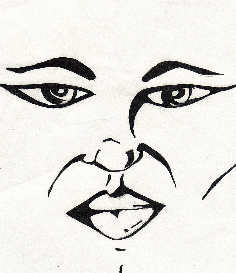 Face Drawing - Blank Look by Marc Chambers