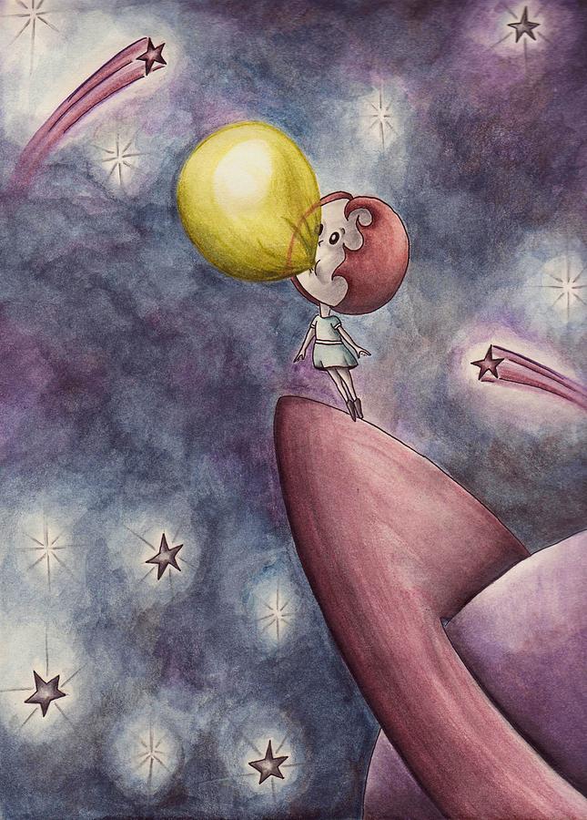 Watercolor Painting - Blast Off by Arika Gloud