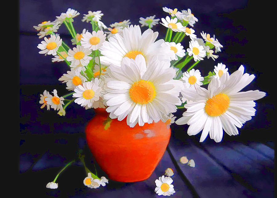 Blazing White Daisies In Persimmon Vase Painting By Elaine Plesser
