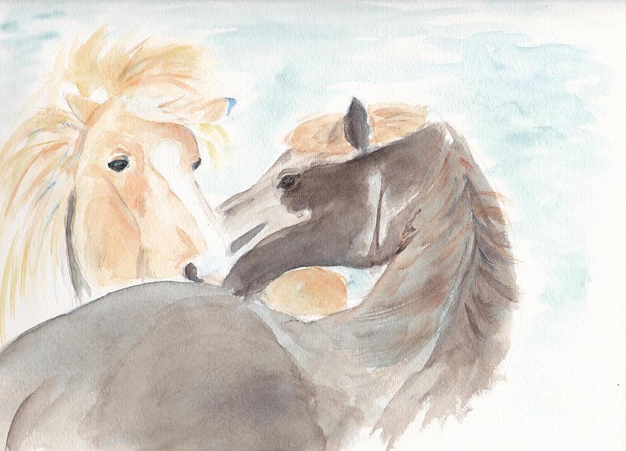 Horses Painting - Blesi And Bear by Debi Hamari