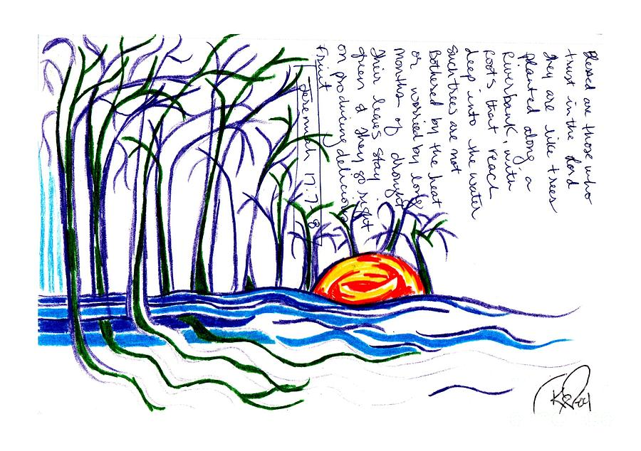Trees Drawing - Blessed Are Those by Carol Rashawnna Williams