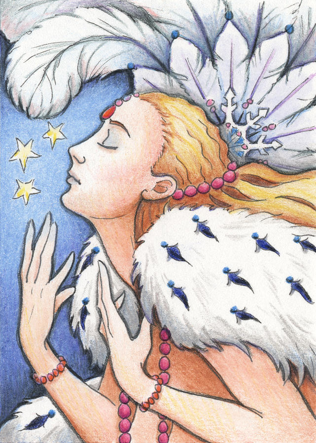 Atc Drawing - Blissful Winter by Amy S Turner