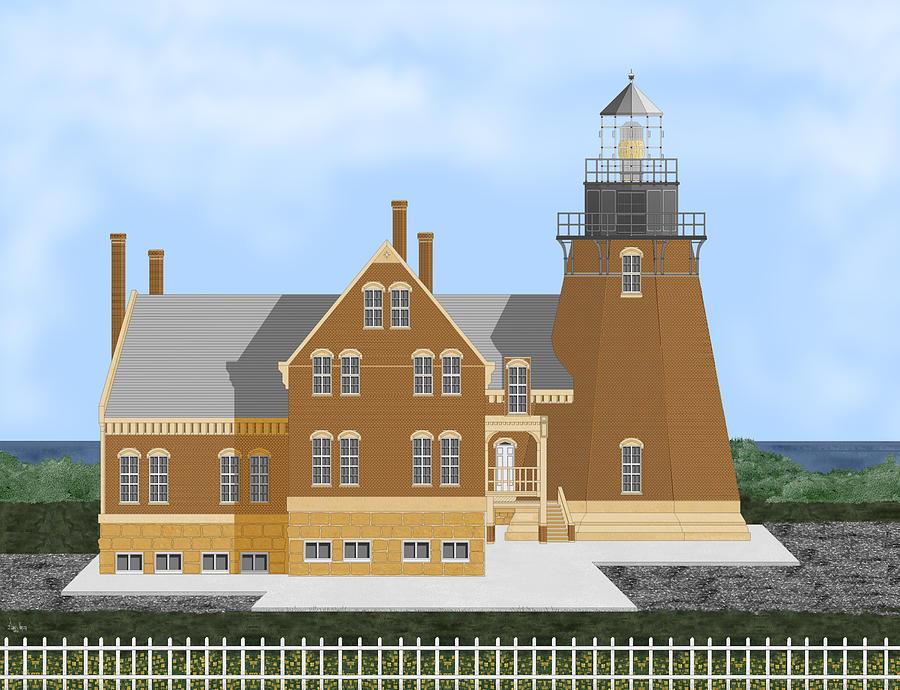 Block Island Lighthouse Digital Art by Anne V Norskog