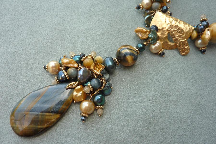 Pearls Jewelry - Blonde Tigereye - Detail by Marta Eagle