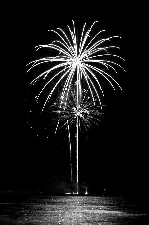 Fireworks Photograph - Blooming In Black And White by Bill Pevlor