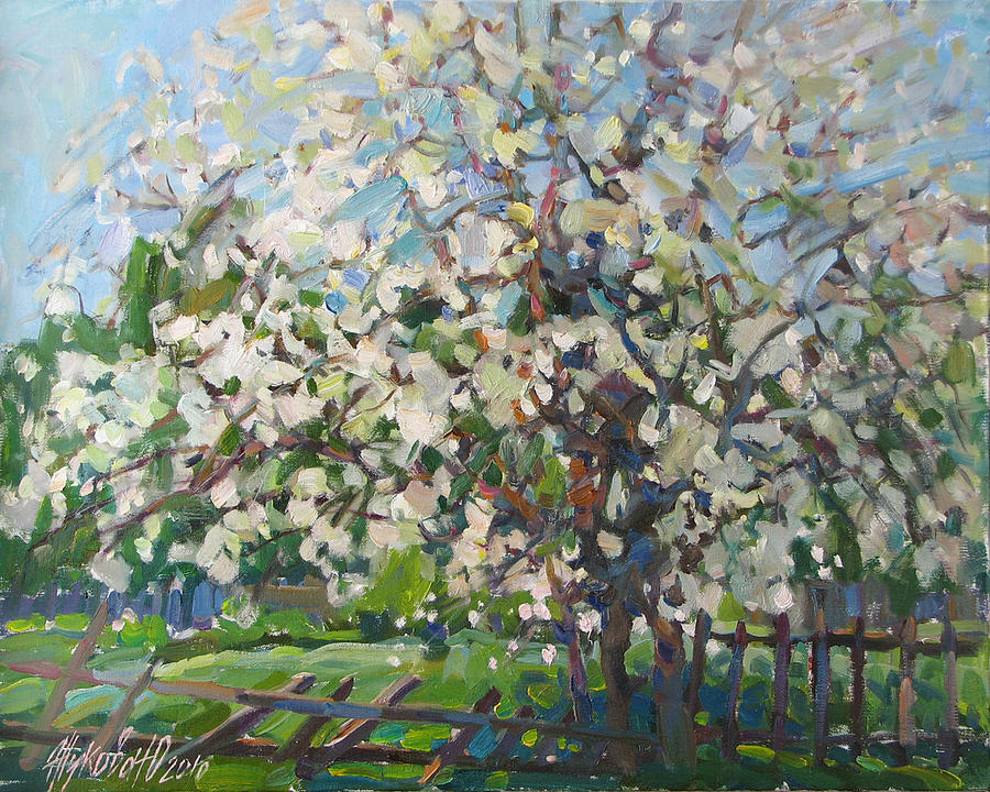 Landscape Painting - Blossoming Apple Tree by Juliya Zhukova