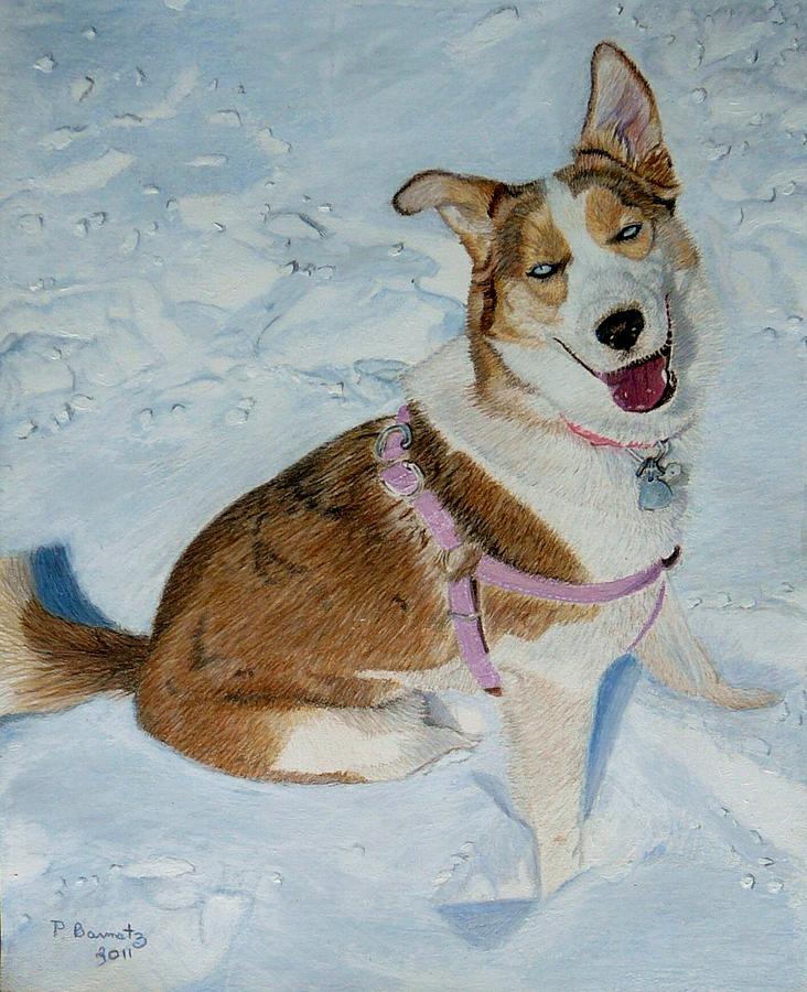 Siberian Husky Painting - Blue - Siberian Husky Dog Painting by Patricia Barmatz