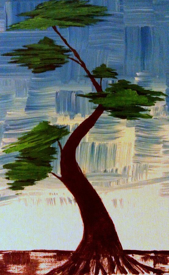 Blue Abstract Bonsai Tree Painting By Brad Scott