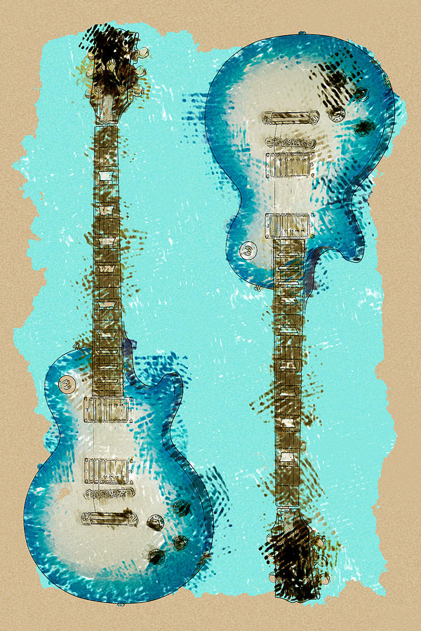 Guitar Photograph - Blue Abstract Guitars by David G Paul
