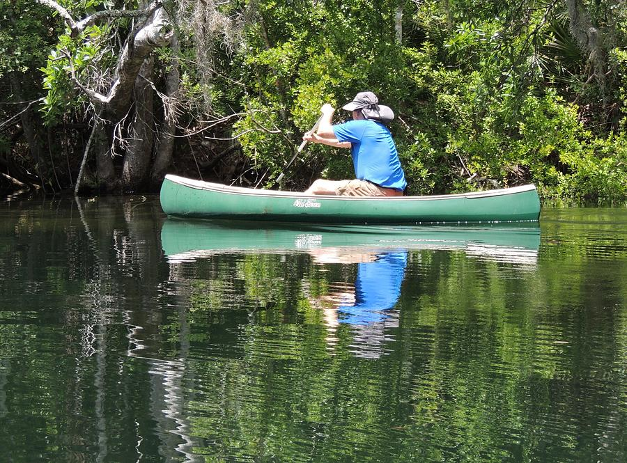 Greens Photograph - Blue Amongst The Greens - Canoeing On The St. Marks by Marilyn Holkham