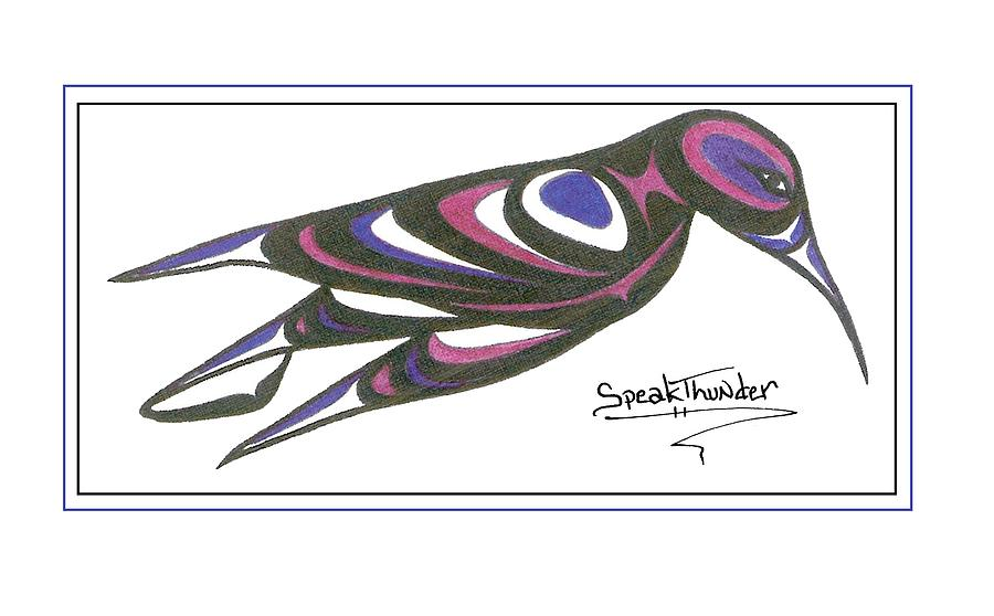 Humming Drawing - Blue And Purple Humming Bird by Speakthunder Berry