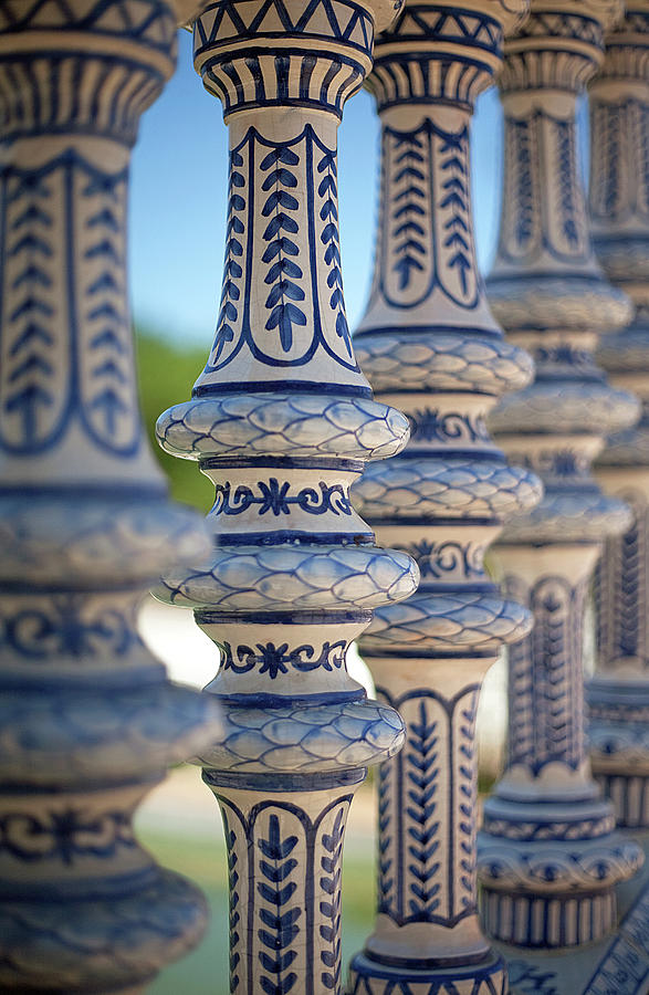 Vertical Photograph - Blue And White Ceramic Fence by Kim Haddon Photography