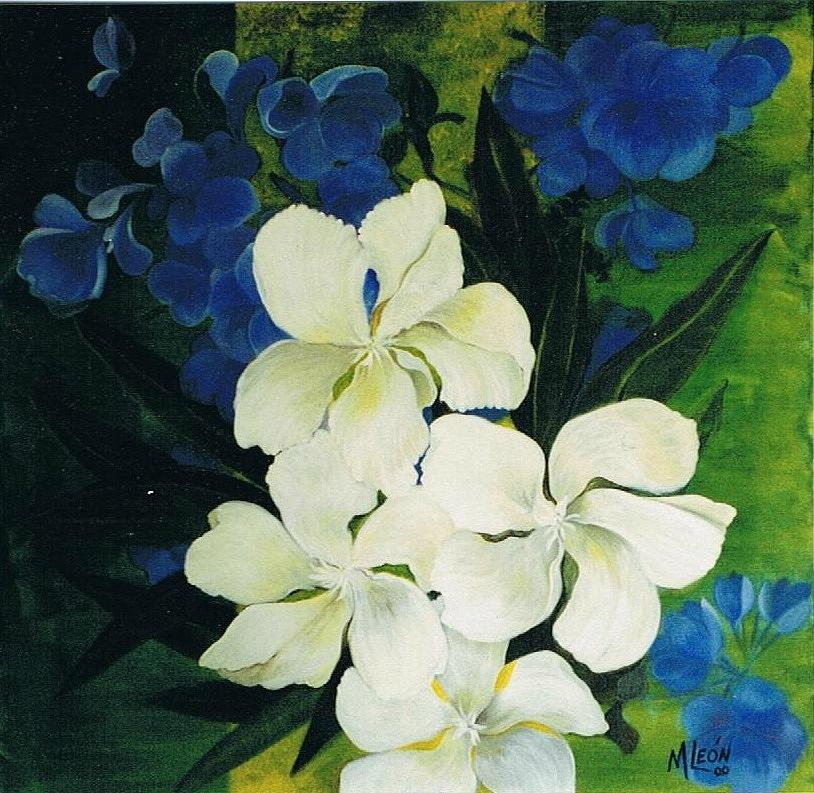 Blue and white flowers painting by maria leon ortiz floral painting blue and white flowers by maria leon ortiz mightylinksfo