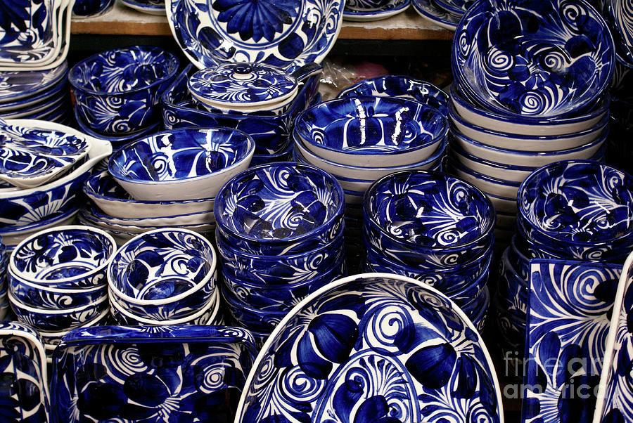 Blue And White Pottery Mexico Photograph